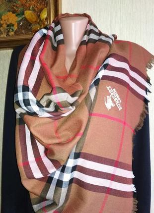 Классический палантин шарф burberry,70% кашемир 30% шёлк