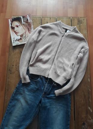 Вязаный бомбер кофта свитер