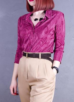 Классическая блуза красная, весенняя блуза с длинным рукавом, рубашка приталенная  bhs