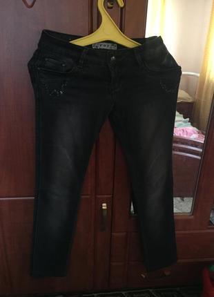 Штаны джинсы черные стреч