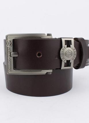 Кожаный ремень под джинсы  8008-418 коричневый 40 мм, итальянская кожа