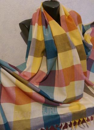 Бренд!стильный хлопковый шарф в клетку napapijri,оригинал,204*69