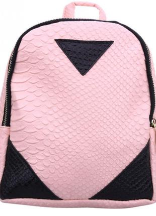 Рюкзак розово-черный мини кожаный аллигатор компактный однотонный