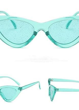Стильные футуристические очки в форме кошачьих глаз, с блестками, тренд 2019!