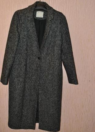 Супер стильное  шерстяное пальто zara, размер м