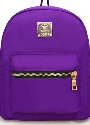Рюкзак фиолетовый однотонный с эмблемой значком вместительный компактный
