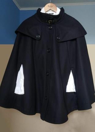 Брендовый классический шерстяной черный кейп от esprit, пончо,пальто, плащ