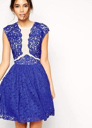 Синее кружевное платье с пышной юбкой 172849 asos размер uk12/40 (m, см. замеры)