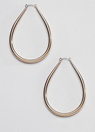 Золотистые овальные серьги-кольца liars & lovers asos сережки бижутерия3 фото