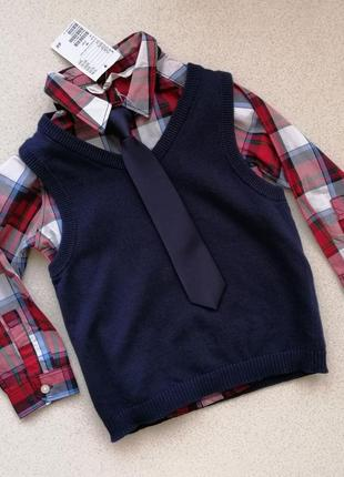 Комплект рубашка жилетка галстук h&m