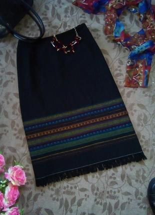 Шерстяная прямая юбка в стиле бохо