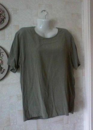 Шелковая блуза с коротким рукавом, разм.50-52