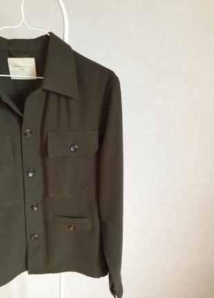 Трендовая куртка рубашка в цвета хаки шерсть2 фото