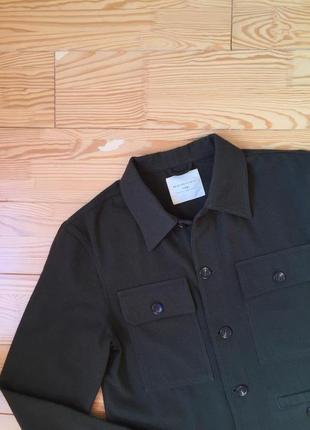 Трендовая куртка рубашка в цвета хаки шерсть3 фото