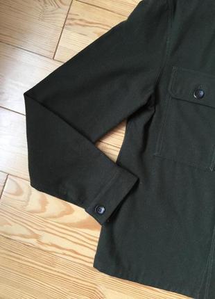 Трендовая куртка рубашка в цвета хаки шерсть4 фото