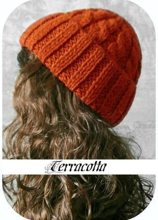 Любая расцветка! хлопковая шапка с отворотом/косы/терракотового цвета
