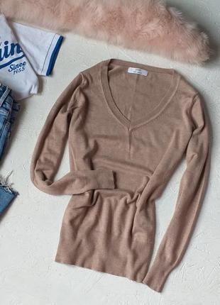 Красивый базовый свитер кофта пуловер в вырезом от marks & spencer