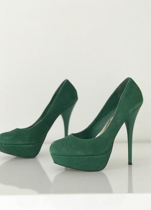 Туфли замшевые изумрудные зелёные steve madden