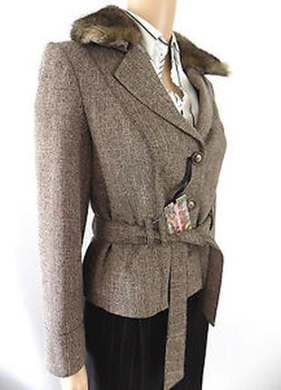 Твидовый блейзер/пиджак/жакет  с меховым воротником principles