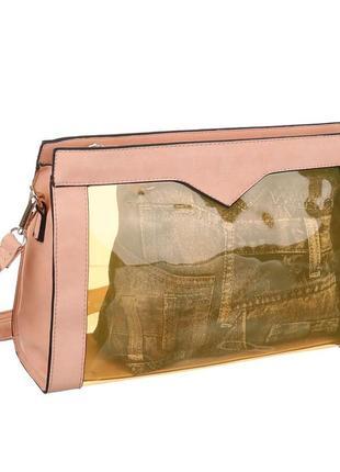 Прозрачная женская сумка комбинированная с экокожей jerry firenze (италия)