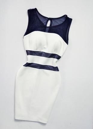 Очень красивое белое платье с вставками с сетки вечернее
