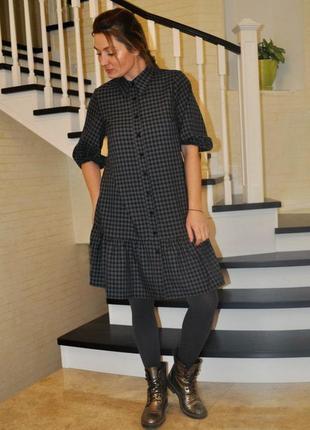 8633-1 теплое платье-рубашка в клетку