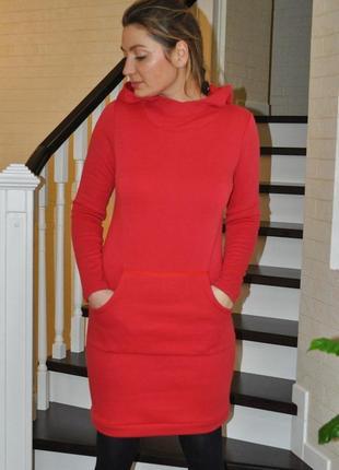 Красное теплое платье-худи на мягком меху