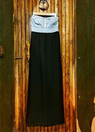 Италия. платье длинное в пол шифоновое джинсовое с открытыми плечами