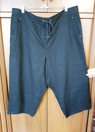 Льняные черные капри размера 58-60