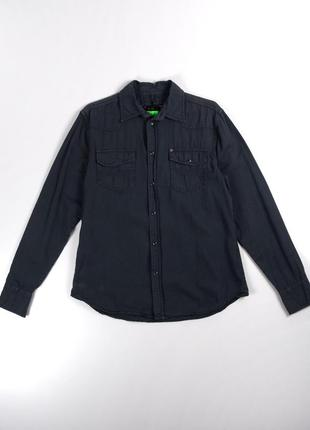 Серая джинсовая рубашка на кнопках  cool cat