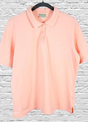 Однотонная футболка поло персиковая, нежная футболка оверсайз