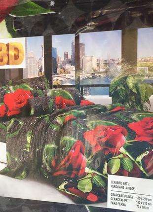 Постельное бельё полуторный комплект розы на черном