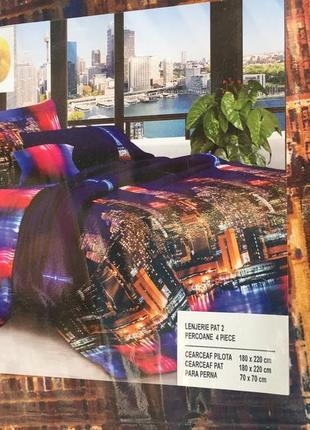 Постельное бельё двойной комплект ночной город