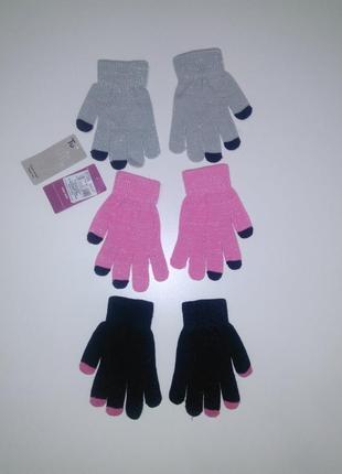 Перчатки с люриксом tu для девочки на 7-12 лет