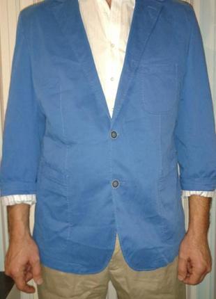 Пиджак жакет блейзер синий летний лёгкий хлопок