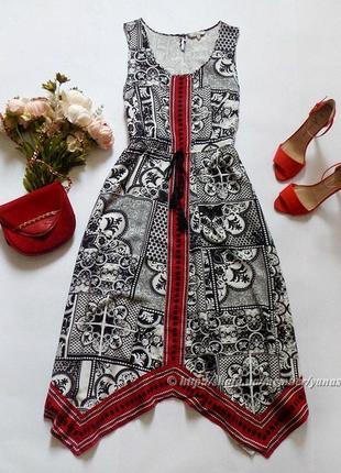 Платье миди peacocks, размер 16 (см. замеры)