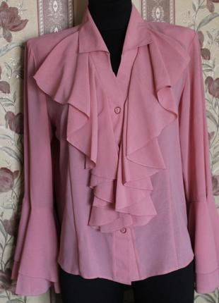 """Блуза женская в размерах 50-58, акционная цена! воротничек  """"жабо"""""""