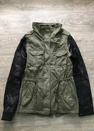 Стильная милитари хаки ветровка куртка