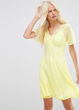 Пляжное  приталенное платье с кружевной отделкой asos,прозрачное,размер m
