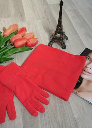 Терракотовый флисовый набор бафф(хомут)+перчатки(новый!)