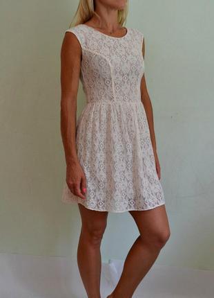 Нежное кружевное платье xxs-xs