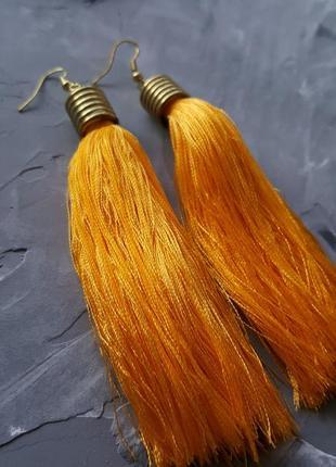 Серьги висячие желтые нитки нити яркие бохо этнические тканевые серьги прямые длинные4