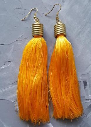Серьги висячие желтые нитки нити яркие бохо этнические тканевые серьги прямые длинные5