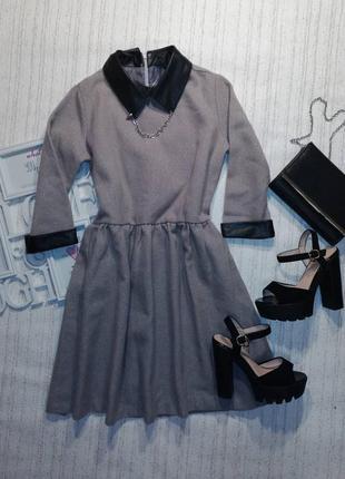 🌺красивенное платье с кожаными воротником
