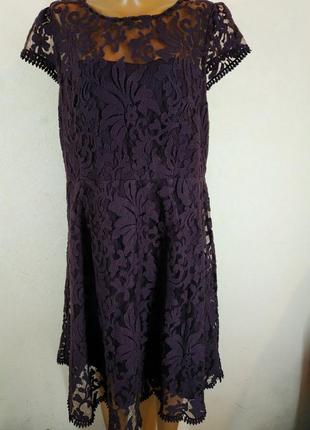 Вечернее кружевное платье из натуральной ткани большого размера