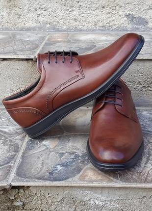 Кожаные туфли дерби ecco  jared 42 р. оригинал