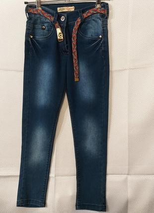 Детские джинсы для девочки с ремешком