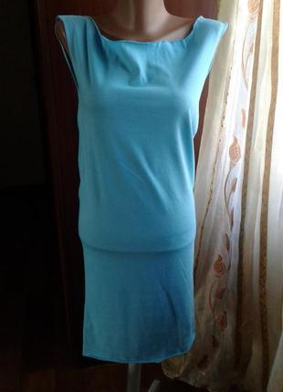 Платье-майка голубое , хлопок