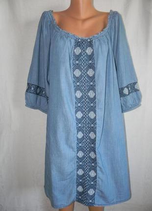 Джинсовое платье с вышивкой большого размера