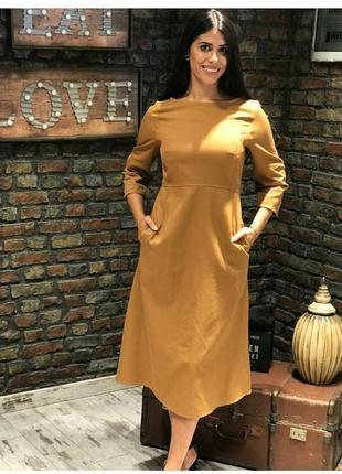 Платье миди горчичного цвета